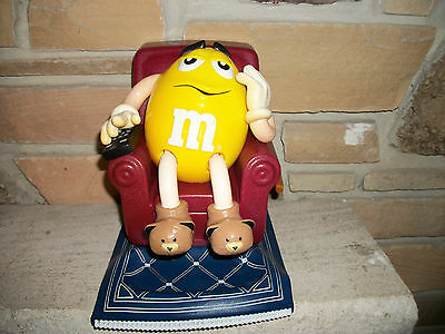M&M's Candy Dispenser Yellow M&M on Recliner W/ TV Remote and Bear Slippers