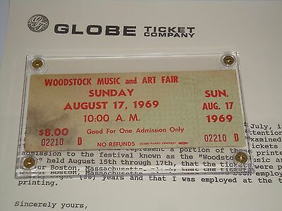 WOODSTOCK 1969 AUTHENTIC SUNDAY TICKET LUCITE CASE JIMI HENDRIX Johnny Winter cc