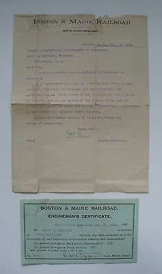 1909 Boston And Maine Railroad Engineman's Certificate And Letter