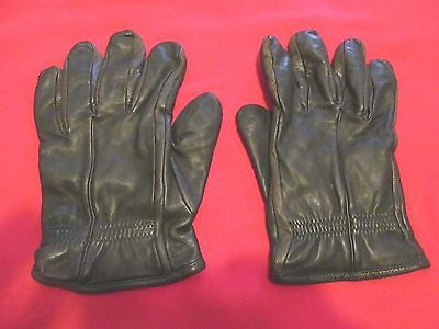 Vintage Black Soft Leather Driving Gloves w/ Cashmere Lining - Size L (?) - GUC