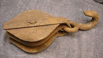 Antique Vintage Double Pulley Block Tackle  Hay Barn Steel Rope