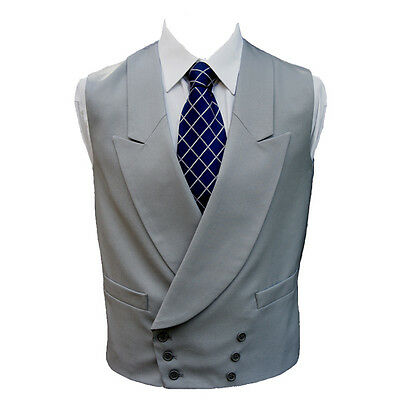 "100% Wool Double Breasted Dove Grey Waistcoat 42"" Regular"