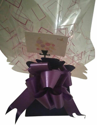 1 bouquet box patterned /cellophane/ 50 mm pull bow purple mothers day/ birthday