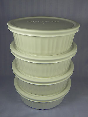 Corning Ware Set of 4 French White 24 oz Casserole with F-24-PC Plastic Lid NWOT