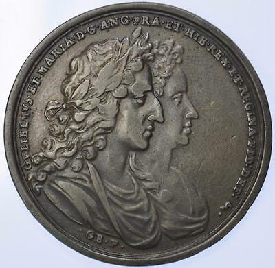 1689 Coronation of William & Mary silver medal by Bower