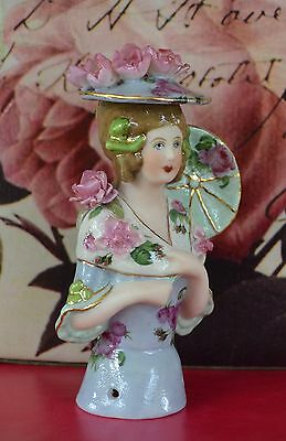 Lady Madelaine with Hat and Parisol Handpainted Porcelain  Half Doll
