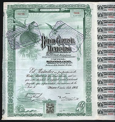 """1905 Mexico: Banco Central Mexicano """"Blueberry"""" – uncancelled, with coupons"""