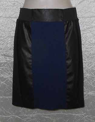 New H&M Sz 4 Pencil Skirt Black Pleather Navy Blue Fabric Back Zip Stretch