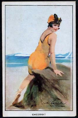 "Vintage Art Deco, Glamour PPC - Girl in Yellow Swimsuit ""Cheerio!"" - W. Barribal"