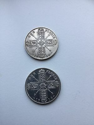 Set of 2 George V Sterling Silver Florins 1914. Very good condition