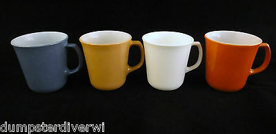 4 Mixed Color D handle vintage MOD  Pyrex Corning Coffee mugs cups 1960s 1970s