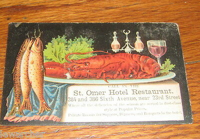 Victorian trade card St. Omer Hotel Restaurant whole lobster on cover