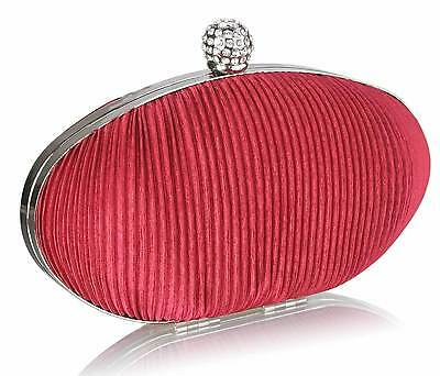 Red Oval Shape Clutch Bag Satin Diamante Wedding Races Prom Party Evening Bag