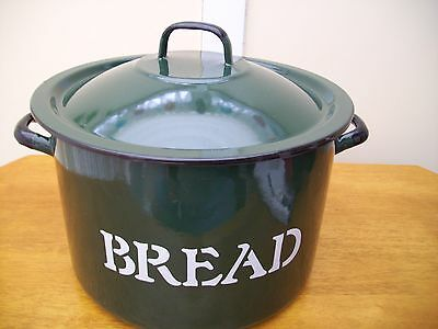 Large Family Enamel Size Bread Bin Dark Green Pristin