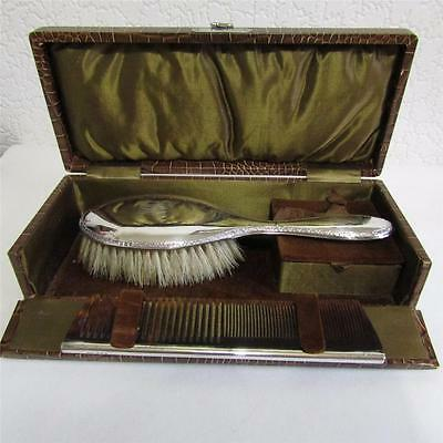 Silver Mounted Brush & Comb With Case c1923 - Daniel Manufacturing Company
