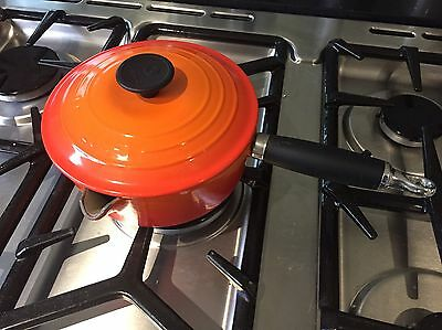 Vintage Le Creuset Volcanic Orange Stock Pan Sauce Pan 18cm With Lid