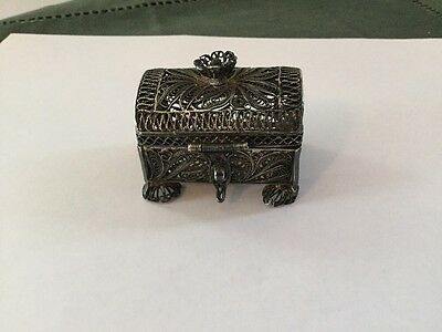 Antique Russian Silver Filigree Footed Ring Box...1876...