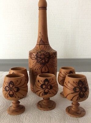 Vintage Decanter Cordial Set Handcrafted Carved Floral Design Beautiful Set RARE