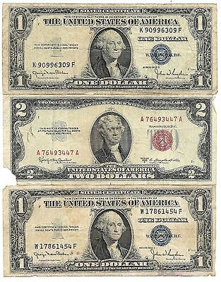 100% OLD ANTIQUE Rare 1935 1957 US Silver Certificate Lot 1953 $2 ...