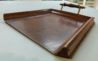 Vintage Wooden Crumb Tray with Brass and Wood Handle
