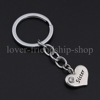 Family X'mas Gifts Crystal Love Heart Keychains Keyrings Key Finder For Sister