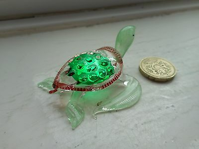 Turtle - Beautiful  Colourful Glass - Green And Brown - Miniature Turtle