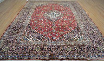 8x11'2 Fine Genuine S Antique Persian Kashan Oriental Hand Knotted Wool Area Rug