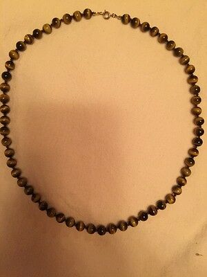 vintage tigers eye Necklace Hand Knotted Twenty Four Inches