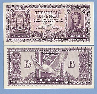 Hungary, 10 million (10000000) b.-pengo, 1946, UNC, P 135