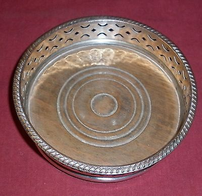 Vintage Timber And Silver Plated Copper Wine Coaster Good Condition