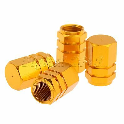 4X Tire Wheel Rims Stem Air Valve Caps Tyre Cover Car Truck Bike Gold Aluminum