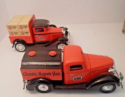 2 vintage BANKS DIE CAST1937 CHEVY TRUCK CLARK OIL FORD MODEL A CLARK GAS 1 KEY