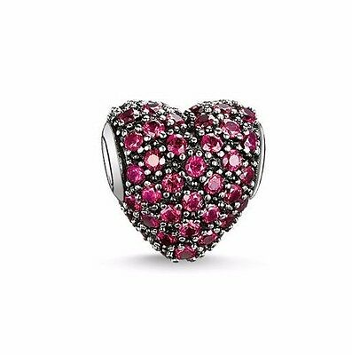 New Silver Plated Heart Shaped Pave Charm Fit European Brand bracelet UK