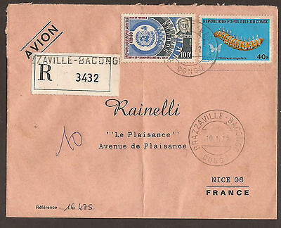 Congo. 1972. Registered Air Mail Cover. Bacongo Postmark. Arrival On Reverse.