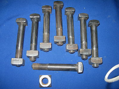"8 Antique 5/8""-11 X 4""  Square Head Bolts & Nuts Steampunk Industrial Art Parts"