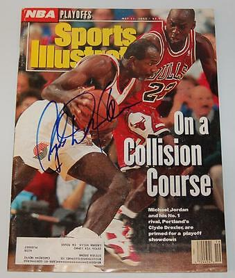 Clyde Drexler Trail Blazers Autographed May 1992 Sports Illustrated Mag W/coa