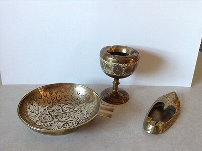 3 Vintage Brass Ashtrays Made In India