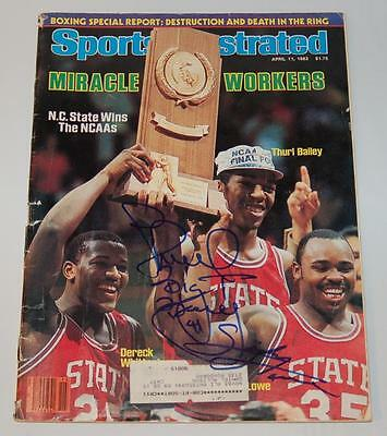 Thurl Bailey & Sidney Lowe N.c. State Autographed 1983 Sports Illustrated Mag.