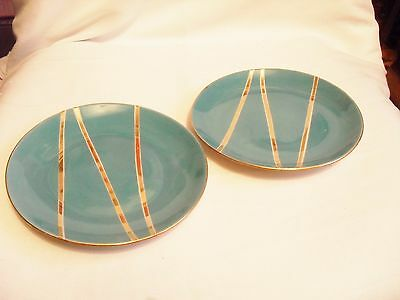 Two Tulowice Polish Pottery Tea Plates In Vibrant Turquoise