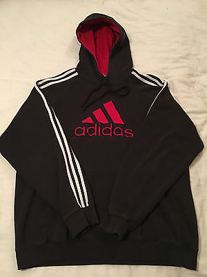 Mens Clean Black XL Extra Large Adidas Pullover Hoodie Sweatshirt Very Good