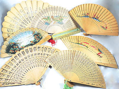 LOT of 7 VINTAGE CHINESE ASIAN BAMBOO HANDPAINTED CARVED WOOD FOLDING HAND FANS
