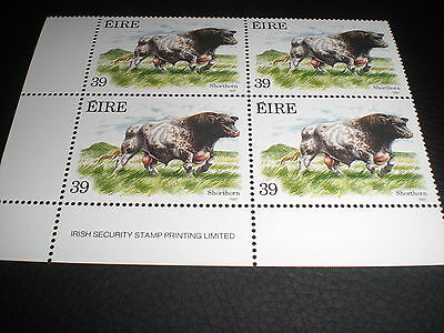 1987 Four 39p Stamps - Shorthorn Bull - 10th Flora & Fauna Series (Cattle)