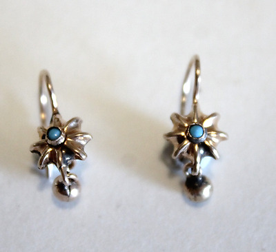 RARE Antique Petite 14k Rose Gold Victorian Turquoise Earrings