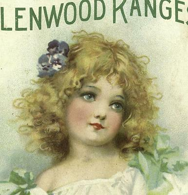 Glenwood Ranges Girl With Pansies In Her Hair Victorian Trade Card