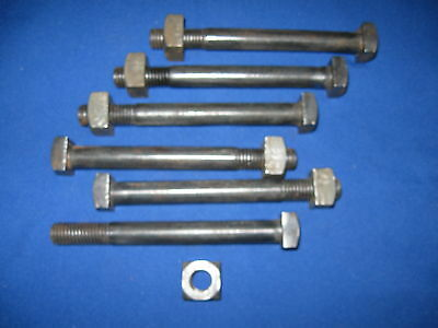 "6 Antique 5/8""-11 X 6""  Square Head Bolts & Nuts Steampunk Industrial Art Parts"