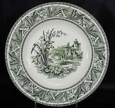 WH Grindley Green Transferware Aesthetic Bowl DAFFODIL Antique Ironstone Castle