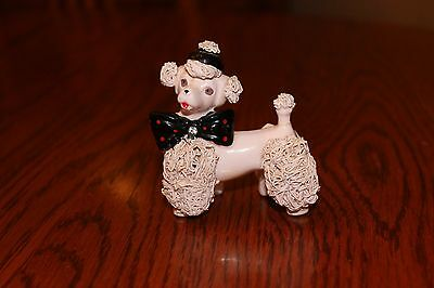 Vintage 1950's Spaghetti Pink Poodle with Hat and Bow made in Japan
