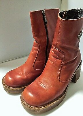 HARLEY DAVIDSON Women's 6.5 M  Leather Riding Zip Side Boots