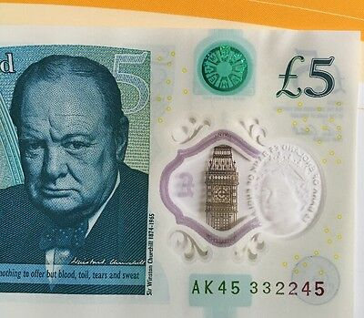AK45 332245 Bank Of England Polymer £5 Five Pound Note Genuine New Note