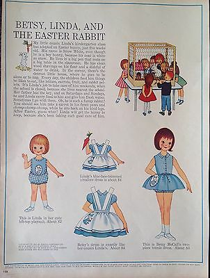 Vintage Betsy McCall Mag. PaperDoll, Betsy, Linda & the Rabbit , March 1963
